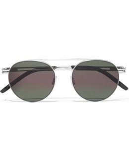 Spartan Aviator-style Gunmetal-tone Sunglasses