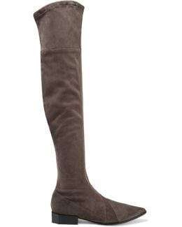 Berry Suede Over-the-knee Boots