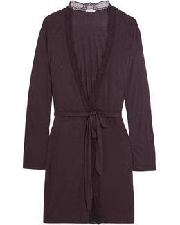 Clarisse Lace-trimmed Stretch-jersey Robe