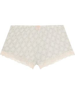 Lace-trimmed Printed Stretch-modal Pajama Shorts