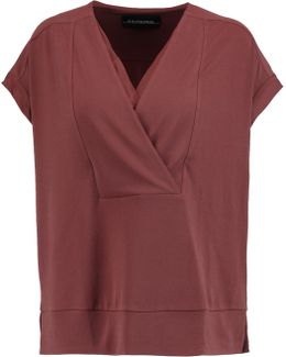 Washed Silk-trimmed Stretch-crepe Top