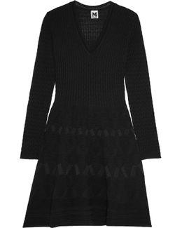 Crochet-knit Wool-blend Mini Dress
