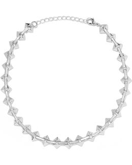 Silver-tone Enamel Choker