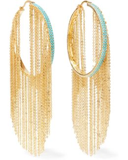 Gold-tone Stone Hoop Earrings