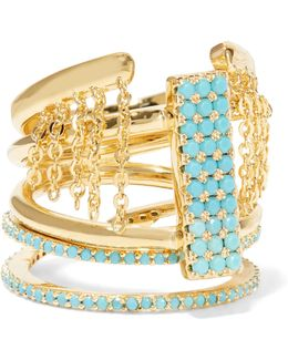 Set Of Three Gold-tone Turquoise Rings