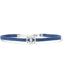 Denim, Silver-tone And Crystal Choker