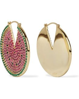 Gold-tone Crystal And Enamel Earrings
