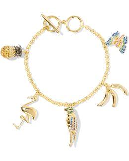 Gold-tone Crystal Charm Bracelet