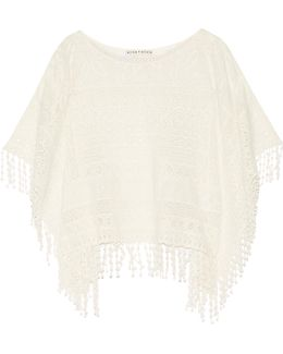 Danette Crocheted Cotton Poncho