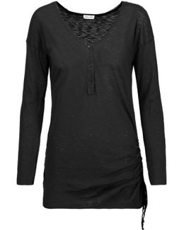 Henley Ruched Supima Cotton And Modal-blend Top