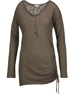 Henley Ruched Supima Cotton And Micro Modal-blend Top