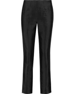 Cropped Silk-blend Satin Slim-leg Pants