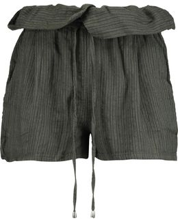 Ruffled Striped Twill Shorts