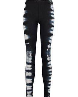 Tie-dye Stretch-supima Cotton And Modal-blend Piqu&eacute Leggings