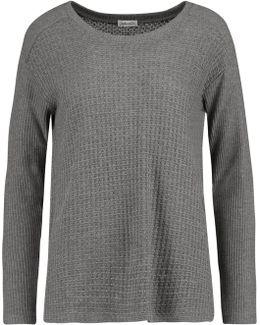 Paneled Waffle-knit Sweater