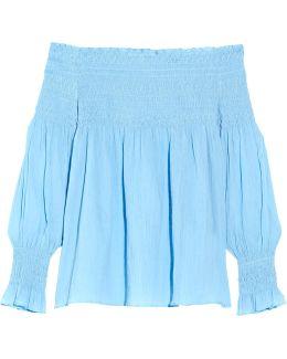 Off-the-shoulder Crinkled Cotton-voile Blouse