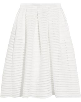 Crochet-trimmed Pleated Cady Skirt