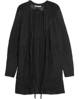 Fringed Paneled Knitted Cardigan
