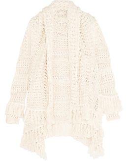Draped Open-knit Cotton-blend Cardigan