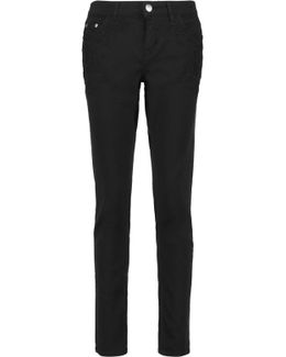 Mid-rise Embroidered Straight-leg Jeans