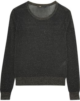 Metallic Ribbed-knit Top