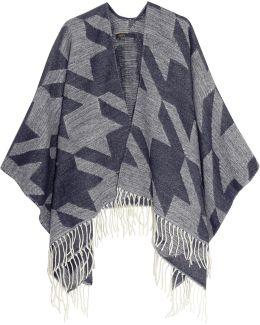 Ermine Fringed Jacquard-knit Poncho