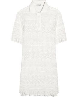 Fringed Crocheted Cotton Mini Dress