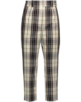 Checked Cotton-canvas Tapered Pants