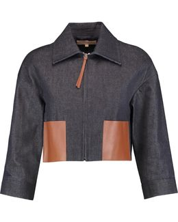 Cropped Leather-paneled Denim Jacket