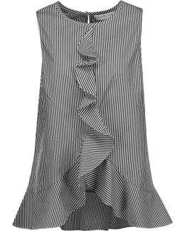Lacey Ruffled Striped Cotton And Silk-blend Top