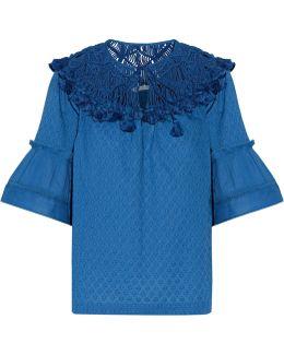 Janis Tasseled Macramé Lace-paneled Cotton Top