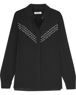 Ciara Eyelet-embellished Jacquard Shirt