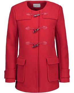 Pekin Leather-trimmed Wool-blend Coat
