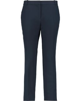 Cotton And Wool-blend Straight-leg Pants