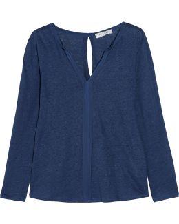 Trilce Cutout Silk-trimmed Slub Linen-jersey Top