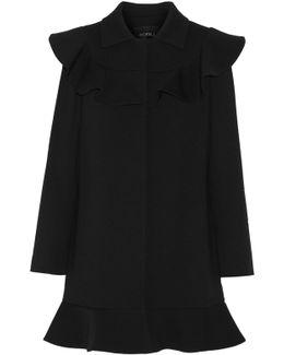 Ruffled Wool-blend Coat
