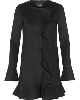 Ruffled Wool And Angora-blend Felt Mini Dress