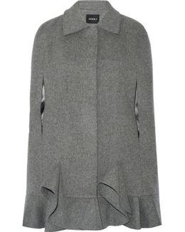 Ruffled Wool-blend Cape