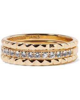 Delgado Set Of Three Gold-tone Topaz Rings