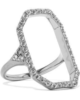 Nyos Gunmetal-tone And Crystal Ring