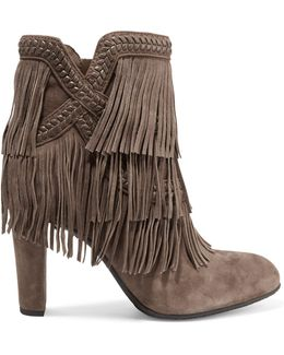 Kaleb Fringed Whipstitched Suede Ankle Boots