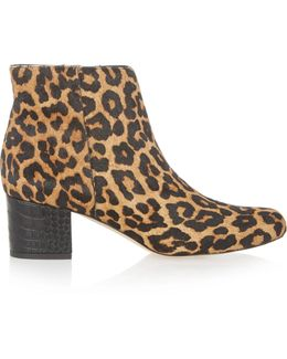 Edith Leopard-print Calf Hair Ankle Boots