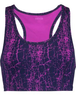 Printed Stretch-cotton Jersey Sports Bra