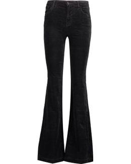 Maria Mid-rise Cotton-blend Velvet Flared Pants