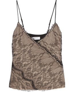 Rose Leavers Lace And Crepe De Chine Camisole