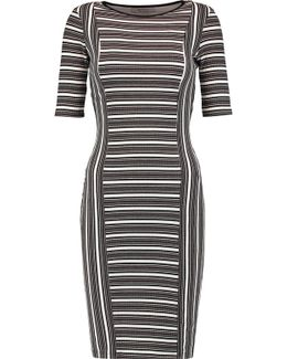 Mansour Gate Ribbed Printed Jersey Dress