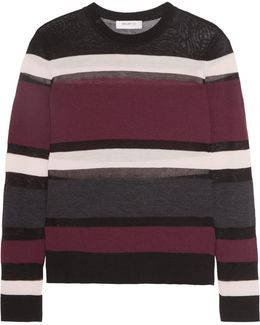 Rachel Mesh-paneled Striped Wool-blend Sweater
