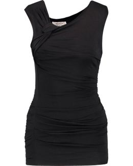 Knotted Ruched Stretch-jersey Top