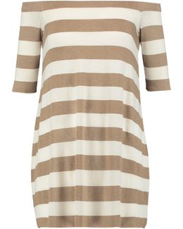 Off-the-shoulder Striped Stretch-jersey Mini Dress