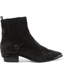 Laslo Studded Suede Ankle Boots